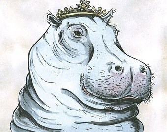 Hippo Queen 8x10 hand painted print