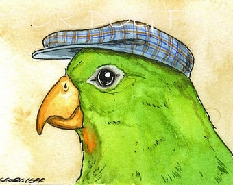 ACEO signed PRINT - Green Parakeet with hat