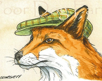 ACEO signed PRINT - Red Fox in a hat