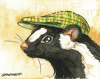 ACEO signed PRINT - Dapper Skunk in a hat -