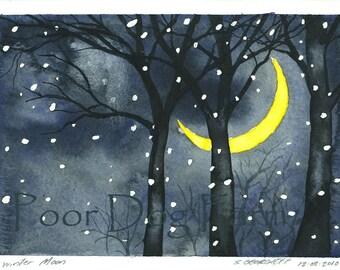 Winter Moon -print