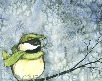 Cold Chickadee Winter  -  8 x 10 print