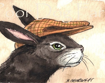ACEO signed PRINT - A black hare in a hat