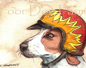 ACEO signed PRINT - Hounds in Helmets n0. 1