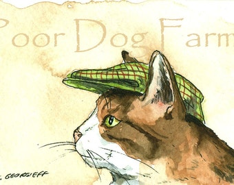 Brown and White Cat in a Hat - 5 x 7 print