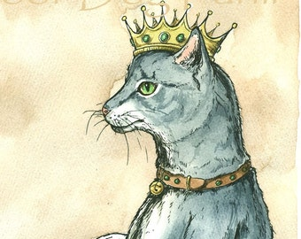 Gray Cat Queen (an original hand painted queen)