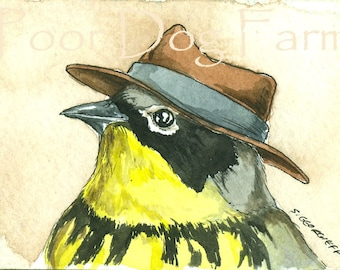 ACEO signed PRINT - Magnolia Warbler in a hat
