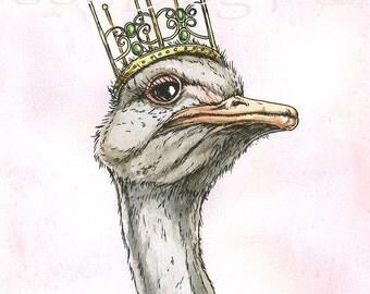 Ostrich Queen (an original hand painted queen)
