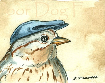 ACEO signed PRINT - Lincoln's Sparrow in a hat
