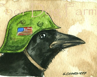 ACEO signed PRINT -  American Crow in a Helmet