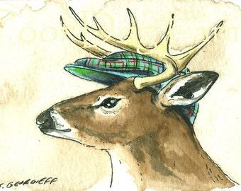Deer  with hat - 5 x 7 print