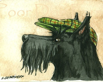 ACEO signed PRINT - Scottish Terrier with a hat