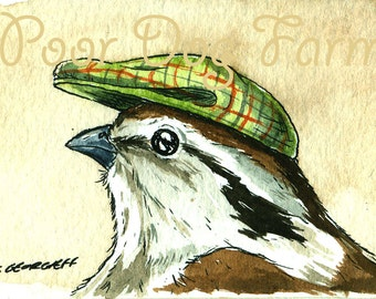 ACEO signed PRINT - LIttle Sparrow in a Hat-