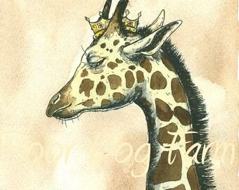 Giraffe Queen 8x10 hand painted print