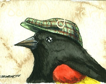 oh.. that I might die.... Red-winged Blackbird in a Hat  - ACEO signed PRINT