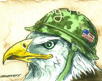 ACEO signed PRINT - Eagle  in a  helmet