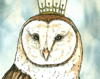 OWL Queen 8x10 hand painted print