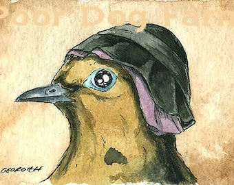 ACEO signed Print - Merkel in a Hat-