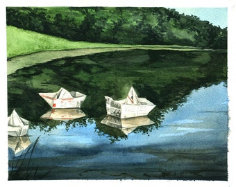 Painting n0. 13  Newspaper Boats-- Original Watercolor Painting