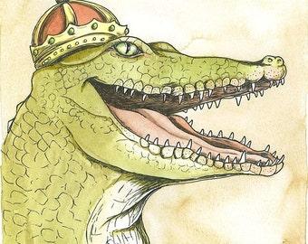 Nile Crocodile King 8x10 hand painted print