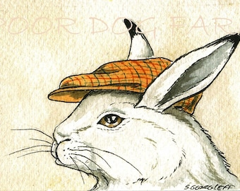 ACEO signed PRINT - A Hare with a hat-
