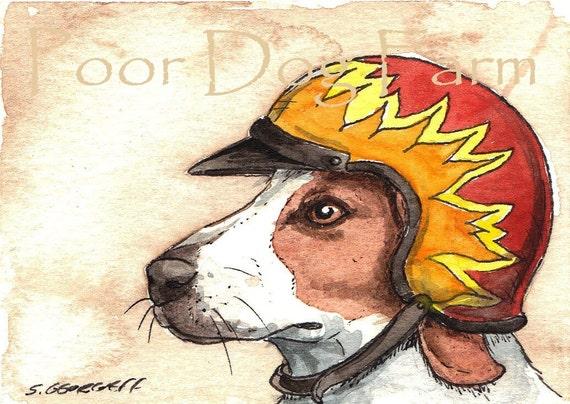 A Hound in a Helmet- print 5x7