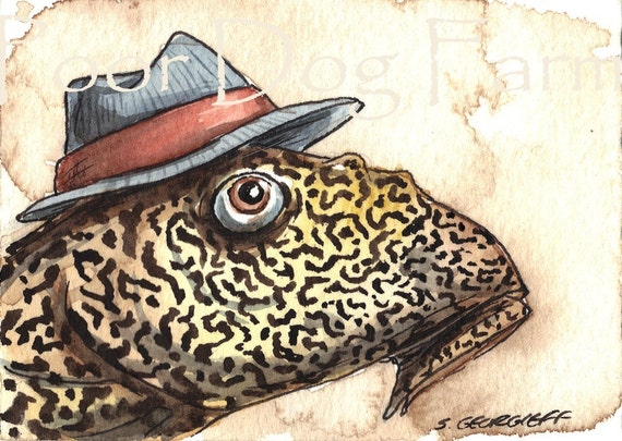 ACEO signed PRINT - Sucker Fish (Plecostomus) in a hat-