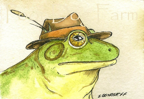 FROGS and TOADS IN HATS SET  (SPECIAL  set of 4 ACEO PRINTS) (...and 1 bonus secret aceo)
