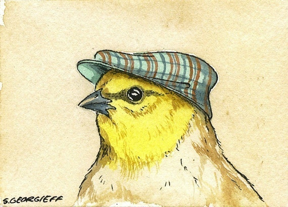 ACEO signed PRINT -Little Verdin with hat -