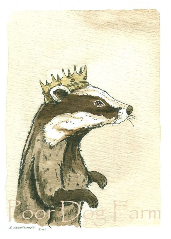 Badger King  5x7 Sepia Print