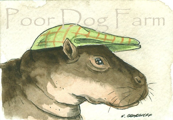 ACEO signed PRINT - Pigmy Hippo in a hat