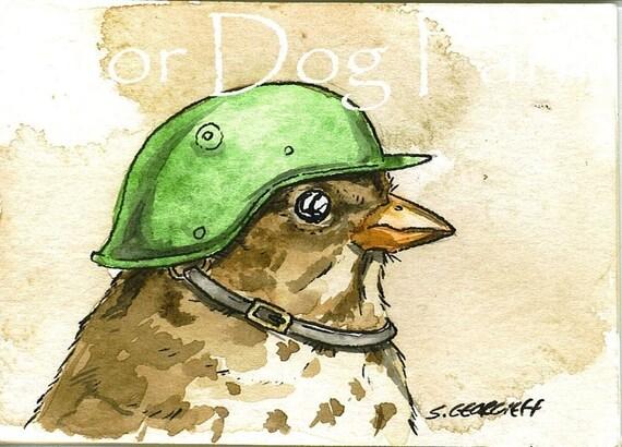 Birds in helmets  n0. 1 - 5 x 7 print