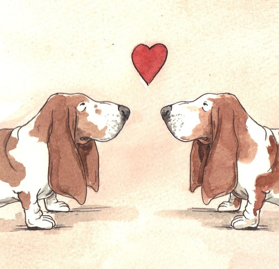 Basset Hound Love  -Original Watercolor painted print