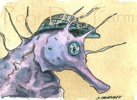 Purple Sea Horse in a hat - Original ACEO Painting