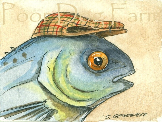 ACEO signed PRINT - Butterfish in a hat