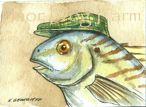 Spot in a hat- Original ACEO Painting