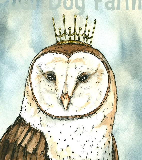 OWL Queen 8x10 hand painted print