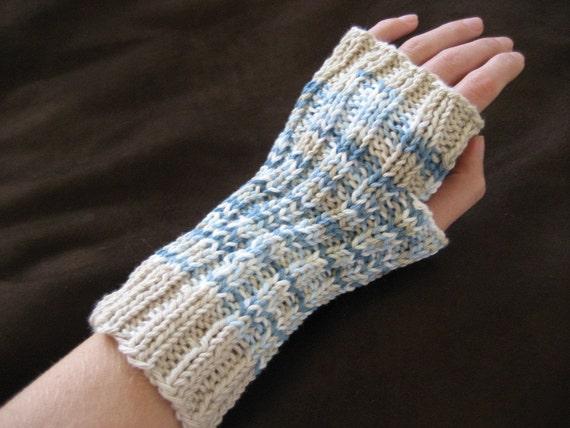 RESERVED for saukmountain - Organic Fingerless Gloves - Rising Tide