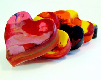 Kid's  VALENTINES Crayons - Recycled Heart Crayons -  Jumbo Recycled Rainbow Crayons - Valentine Favors for Kids