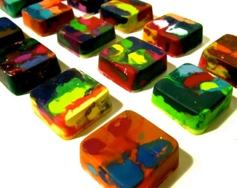 Kids SQUARE Crayons  - Recycled Crayon Set - Original Rainbow Crayons- Mini Squares -Valentine's Day Favors