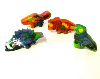 Kids DINOSAUR Crayons - Jumbo Dinosaur Recycled Crayons - Set of 4 Recycled Rainbow Crayons for Kids