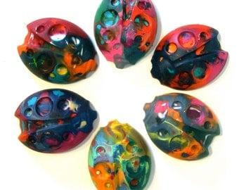 Kid's BUG Crayons - Recycled Rainbow Crayons - Jumbo Ladybug Rainbow Crayons (Set of 3 Recycled Crayons)