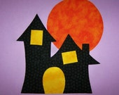 Fabric Applique TEMPLATE ONLY Spooky Haunted House With Moon