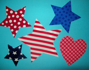 Fabric Applique TEMPLATE ONLY 4 Assorted Size STARS and A Heart