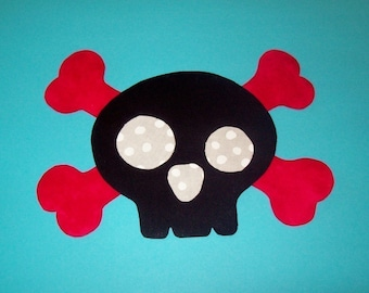 Fabric Applique TEMPLATE ONLY Skull and Cross Bones