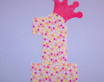 Fabric Applique TEMPLATE Pattern ONLY ....NUMBER 1 One With Princess Crown