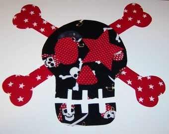 Fabric Applique TEMPLATE ONLY Star Eye LARGE Skull and Cross Bones....New (See Size Posted)