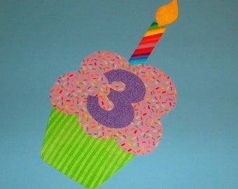 Fabric Applique TEMPLATE Pattern ONLY Birthday Party CUPCAKE With Numbers 0 to 9 And Candle....New