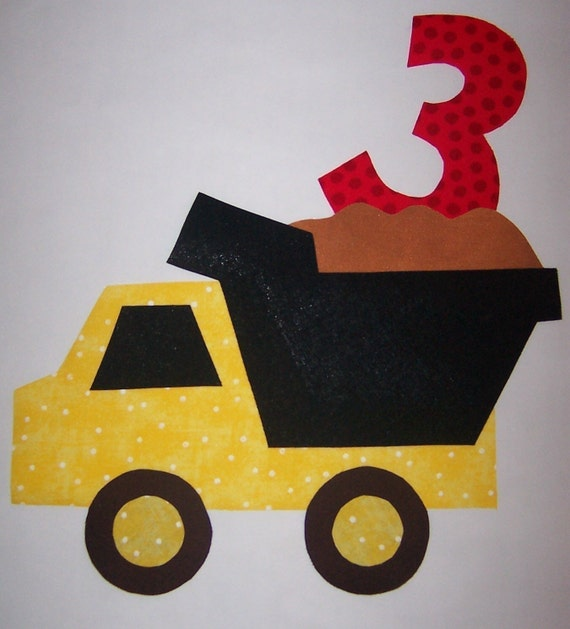 Fabric Applique TEMPLATE Pattern ONLY Dump Truck