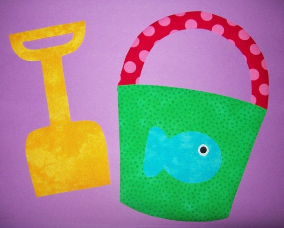 Fabric Applique TEMPLATE ONLY Beach Pail and Shovel